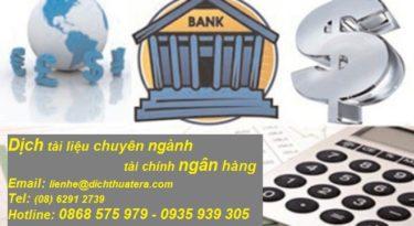 dịch tiếng anh chuyên ngành tài chính ngân hàng