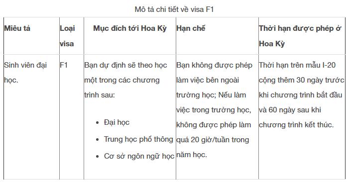 Mô tả chi tiết về loại Visa F1
